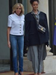 Rihanna Meets With Emmanual And Brigitte Marcon in Paris